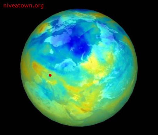 blue planet with ozone hole in atmosphere